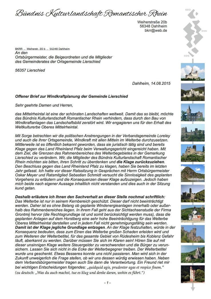 Offener Brief des Bündnis Kulturlandschaft Romantischer Rhein (Seite 1)