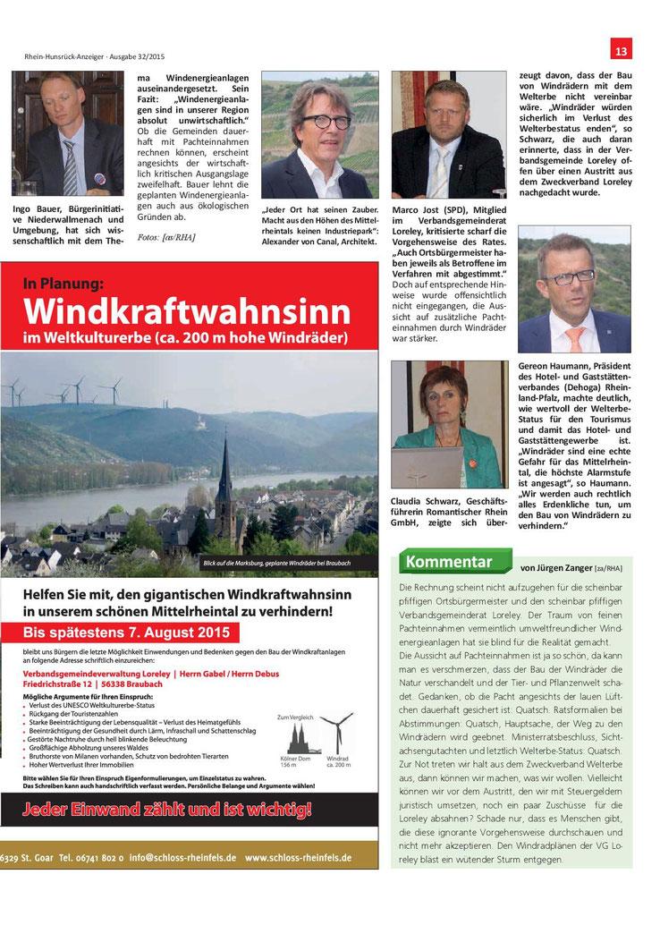Rhein-Hunsrück-Anzeiger v. 05.08.2015 (Seite 13)