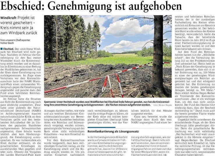 Rhein Hunsrück Zeitung v. 17.07.2015