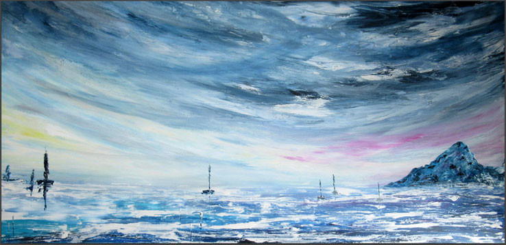 grand tableau panoramique-paysage-ocean-montagne-peinture-marine-artiste-peintre-royan-audrey-chal