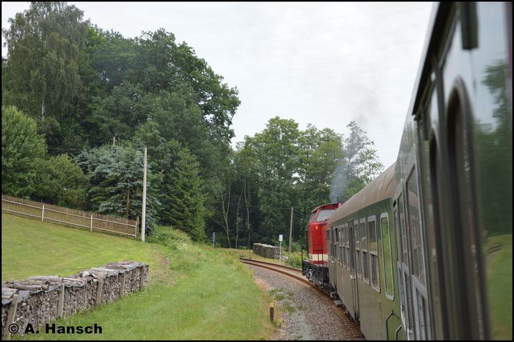 Und ein letztes Bild aus dem Zug heraus. Inzwischen wieder von Pockau-Lengefeld nach Olbernhau unterwegs. Danke für die Fahrt! Schön war´s!