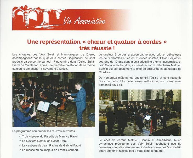 Concert Schubert en l'église Saint-Pierre de Maintenon, avec les solistes et le quatuor à cordes de l'ensemble Sequentiae (Maintenon Infos)