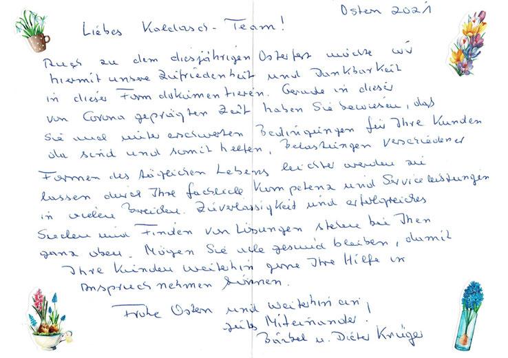 Handgeschriebener Osterbrief eines Kunden an das Kaldasch Team .