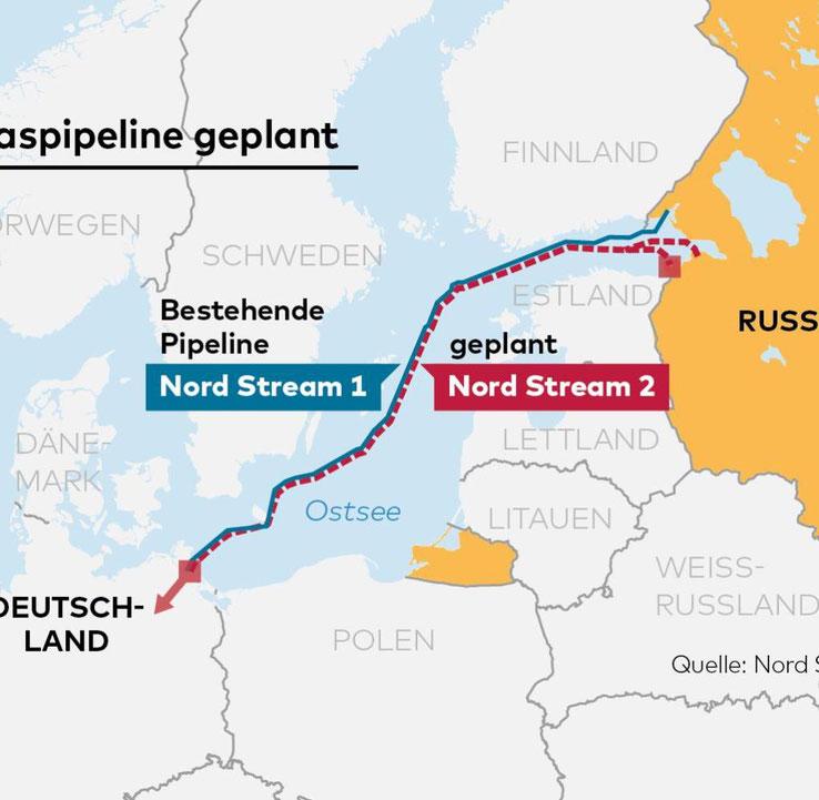 Karte Nord Stream 1 und Nord Stream 2: Bildquelle WELT