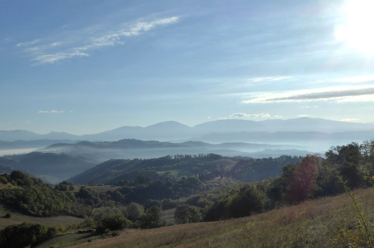 Franziskusweg, Hügel bei Gubbio im Morgendunst