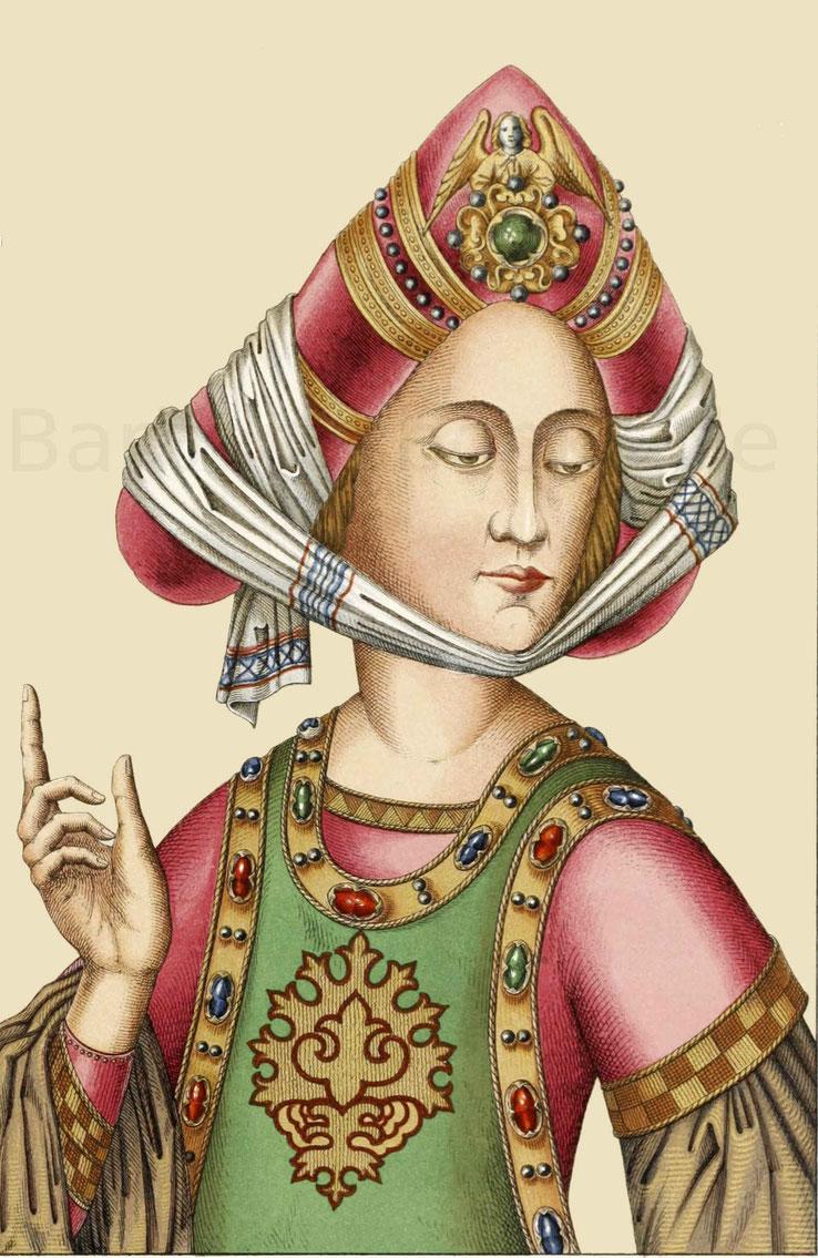 Brustbild einer Dame aus einem reichhaltigen Gemälde, welches den predigenden Johannes Capistranus und die Folgen seiner Ermahnungen darstellt.