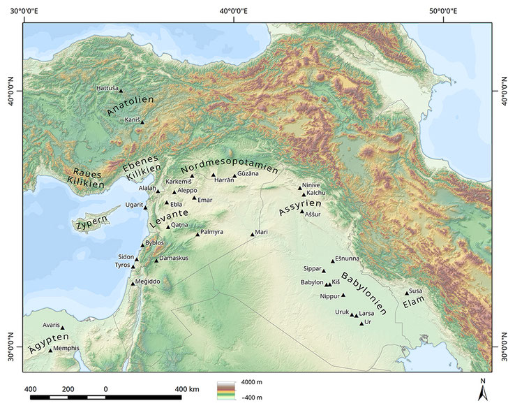 Karte Vorderasiens mit den wichtigsten Regionen und Siedlungsplätzen.