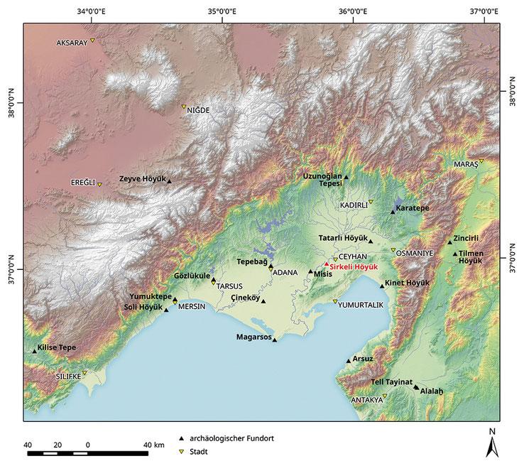Karte des Ebenen Kilikien mit den wichtigsten bronze- und eisenzeitlichen Fundorten. ©Susanne Rutishauser