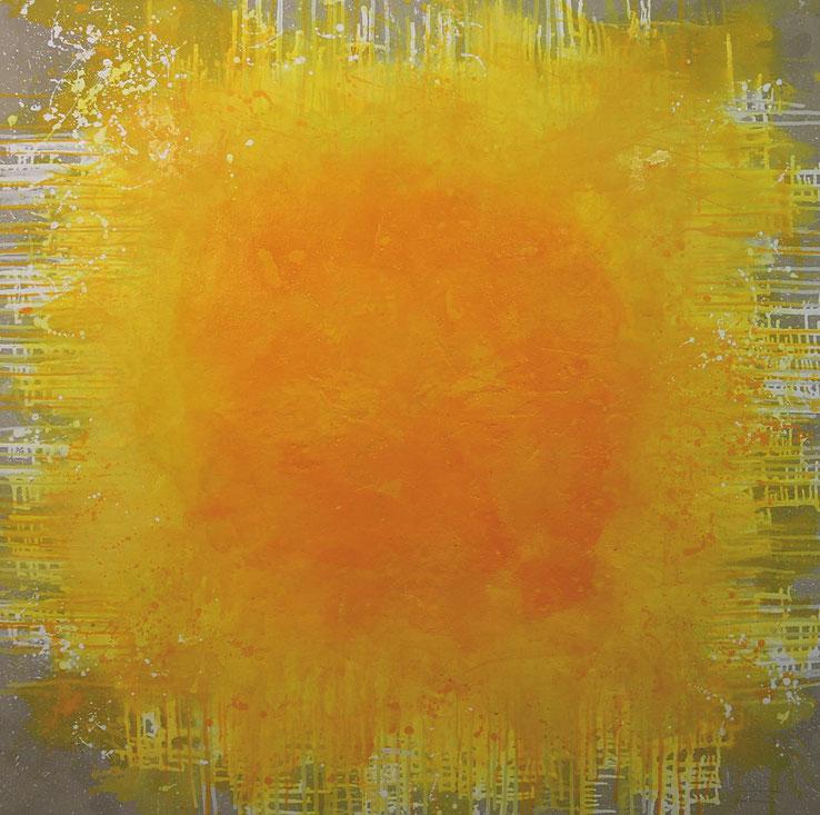 abstraktes Bild · Sonne · Gelb · Ocker · Weiss · Leinwand · Patrick Öxler · Wiede Fabrik · Atelier