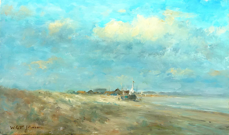 W.G.F. Jansen, kunstschilder. Schilderij strandgezicht te koop. Olieverf.
