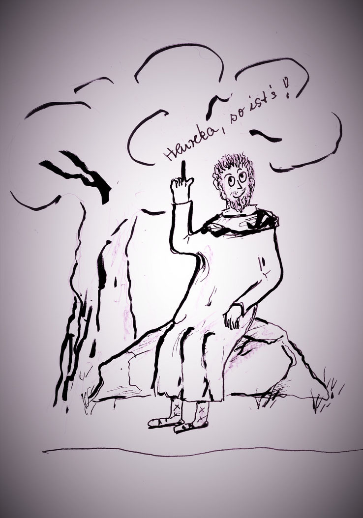"""Zeichnung Doris Bauer: Protagoras aus """"Werden Sie wichtig!"""""""