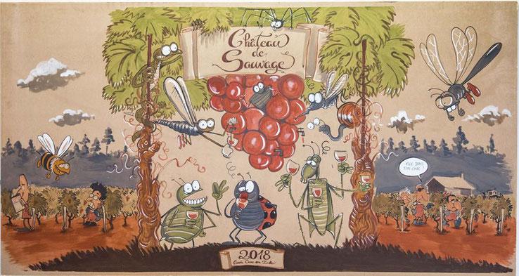 fresque de Croc en Jambe 2018 pour les portes ouvertes du château de Sauvage