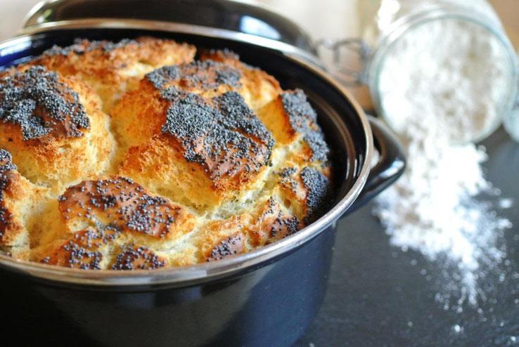 Schnelles Brot im Topf gebacken mit Olivenöl, ohne gehen, ohne kneten, auch für Thermomix