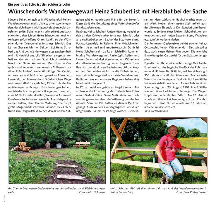 Bild: Wanderwegewart Wünschenbdorf Heinz Schubert