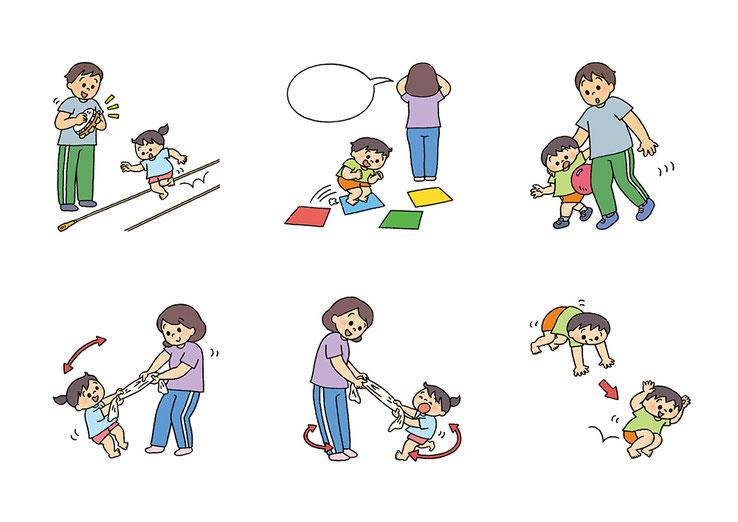 運動する親子のイラスト