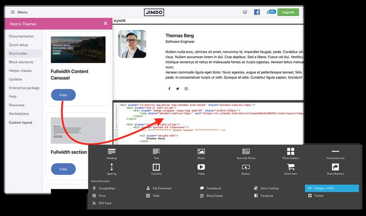 How to add a custom widget to Jimdo website