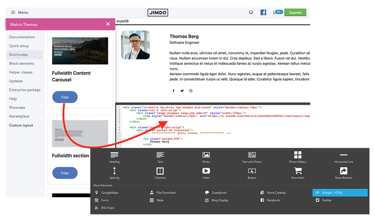 How to add a custom widget to Jimdo website wow animated fadeInUp