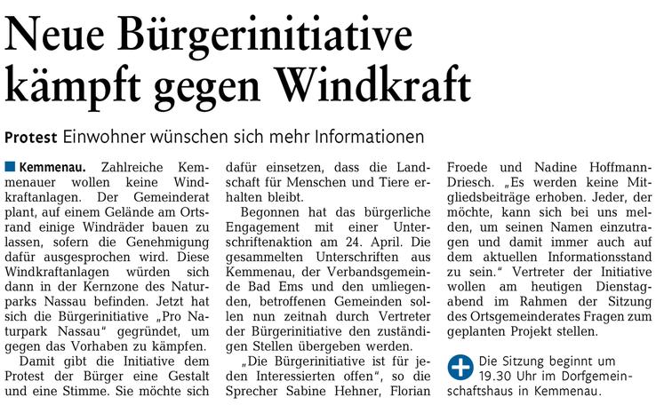 Rhein-Lahn-Zeitung v. 12.05.2015