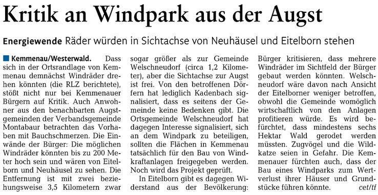 Rhein-Lahn-Zeitung v. 14.04.2015