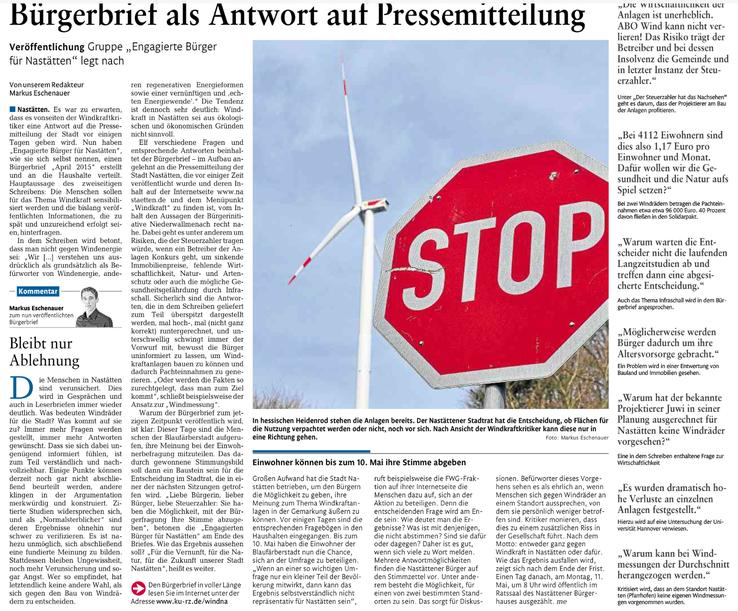 Rhein-Lahn-Zeitung v. 02.05.2015