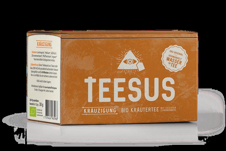 Packaging der TEESUS-Sorte Bio Kräutertee mit leichter Zitronennotte Kräuzigung