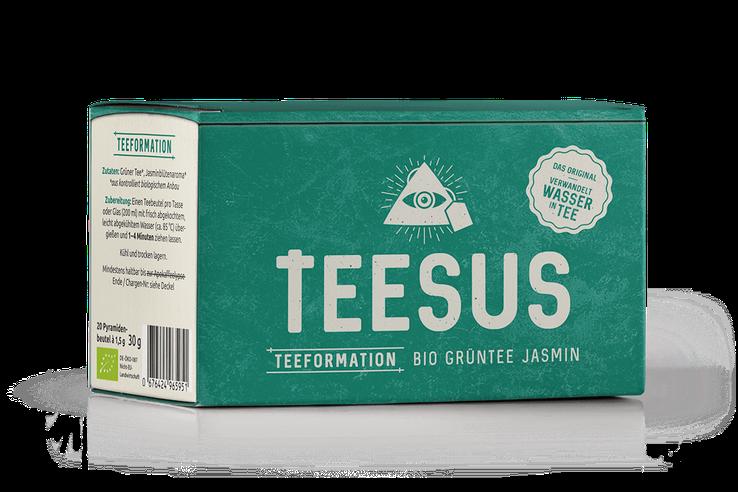 Packaging der TEESUS-Sorte Bio Grüntee Jasmin Teeformation