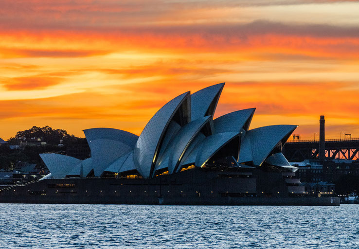 Close-up of the Sydney Opera House during sunset