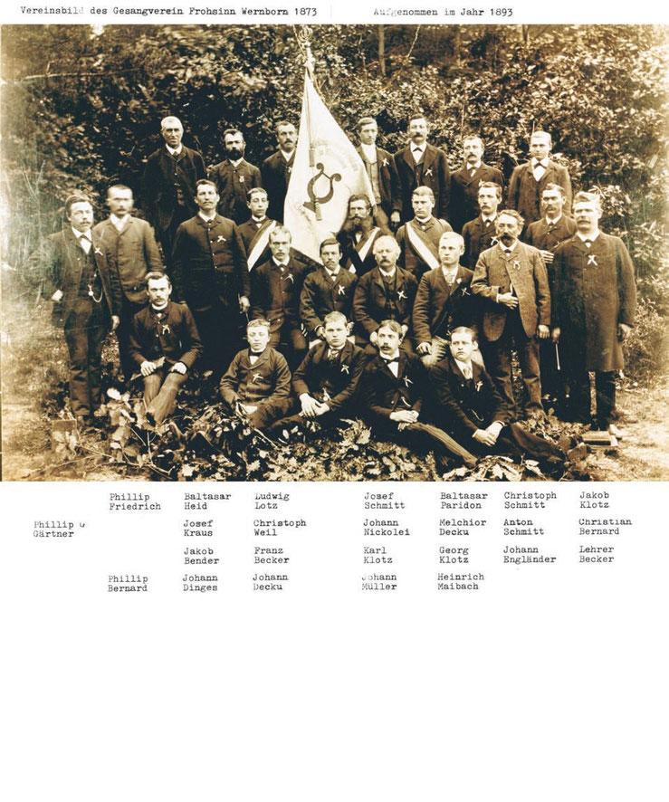 Der Männerchor aus Wernborn beim 20-jährigen Jubiläum 1893