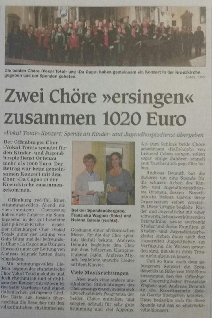 Benefizkonzert in Offenburg von Da Capo 2016