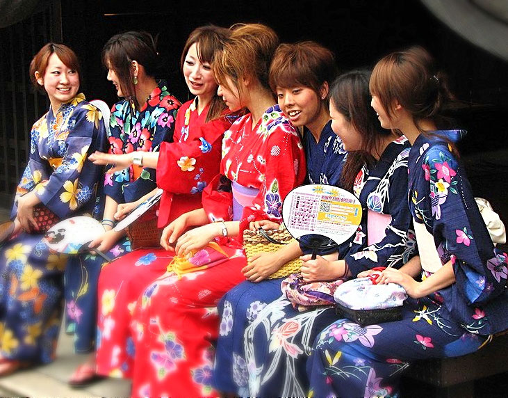 Girls in Yukata (Summer Kimono). It is the sign of summer in Japan Source: Wikipedia