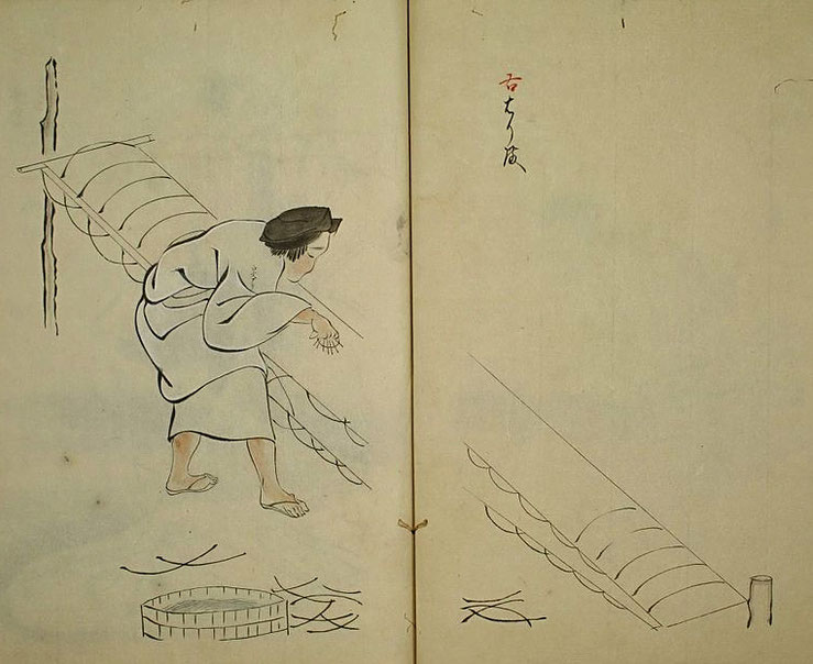 Araihari process. Kimono cleaning expert hanging Kimono  Source: Wikipedia