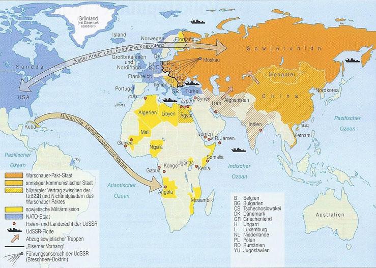 Afrikanische Staaten mit Verbindungen zur Sowjetunion unterstützten in den 70er Jahren auch den internationalen Links-Terrorismus.  Abbildung der Karte mit freundlicher Genehmigung des C.C. Buchner Verlags Bamberg