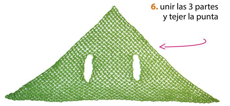 Chal triangular con sisas multiusos tejido a crochet en nudo salomón