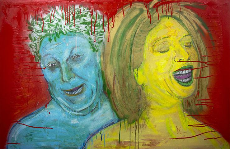 Le Mépris et l'entêtement, aérosol, graphite et pastel sur canevas, 91 x 142 cm, 2012