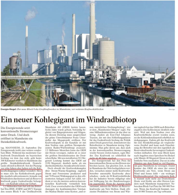 FAZ v. 22.09.2015: Das haben wir leider dem starken Zubau an Windrädern zu verdanken: Kohlekraftwerke gehen an das Netz