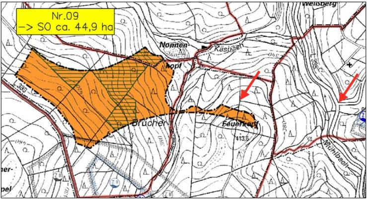 Geplanter Standort auf dem Feuerkopf mit 2 Orientierungspunkten