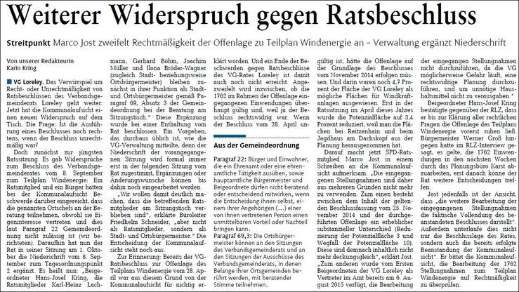 Rhein-Lahn-Zeitung v. 08.10.2015