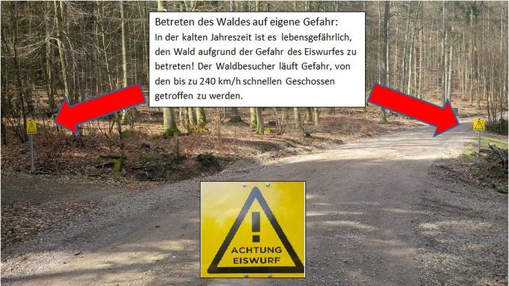Im Wald von Laufenselden finden sich diese Hinweisschilder nahezu an jedem Weg, so dass im Endeffekt ein Betreten des Waldes nicht mehr möglich ist. Die Aufnahme wurde am 03.04.2015 gemacht.