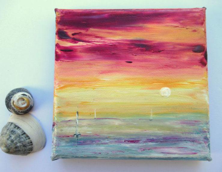 mini-peinture-marine-ocean-coucher-soleil-tableau-jaune-rouge-decoration-minimaliste-miniature-audrey-chal-royan-artiste-peintre