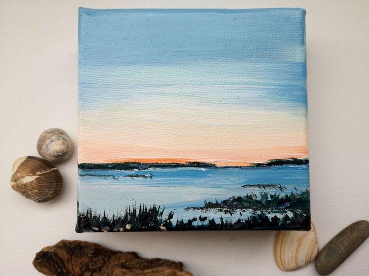 mini-peinture-coucher-de-soleil-bleu-orange-ocean-petit-tableau-carre-royan-audrey-chal-peinture-acrylique