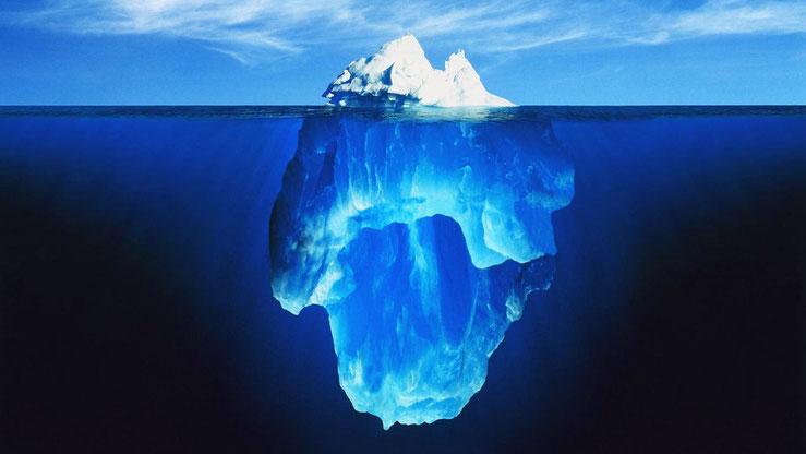 Eisbergmodell: der überwiegende Anteil befindet sich unter der Oberfläche.