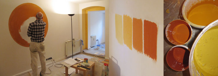 Maler bei der Arbeit, Musterflächen und Farbeimer