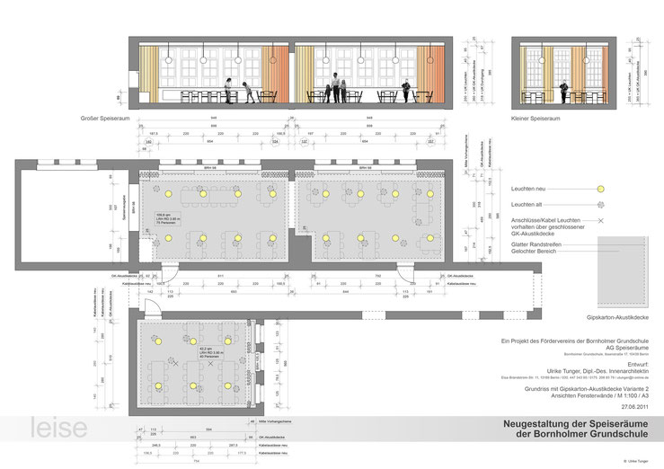 Zeichnung Deckenplan / Schnitte
