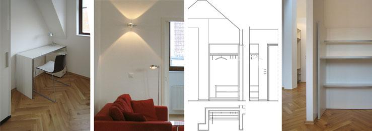 Tischleranfertigungen: Arbeitstisch im Gästezimmer, Garderobe, Küchenregal / Sofa mit Steh- und Wandleuchte
