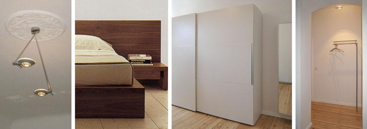 Deckenleuchte / Bett aus massivem Nussbaum / Kleiderschrank und Spiegel-Schuhschrank, Garderobe