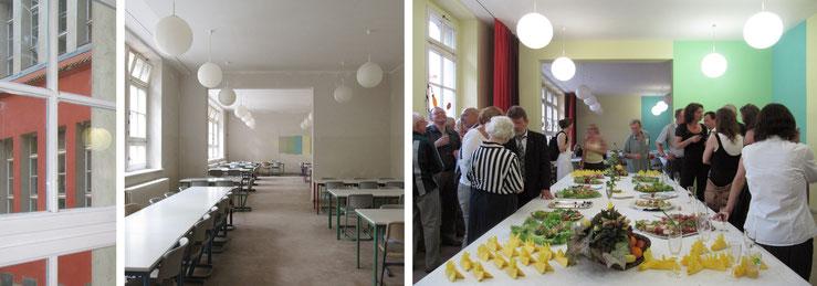 Detail Hoffassade / Großer Speiseraum vor den Malerarbeiten / Buffet zum 100jährigen Schuljubiläum