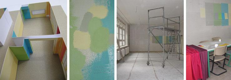 Modell zum Farbkonzept / Farbproben / Speiseraum mit Rollgerüst / Bemusterung Stoffe und Wandfarben