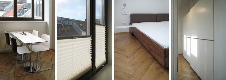 Bei schönem Wetter verlagert sich der Essplatz in der Küche auf die Terrasse / variabler Sonnenschutz / Massivholzbett / Kleiderschrank