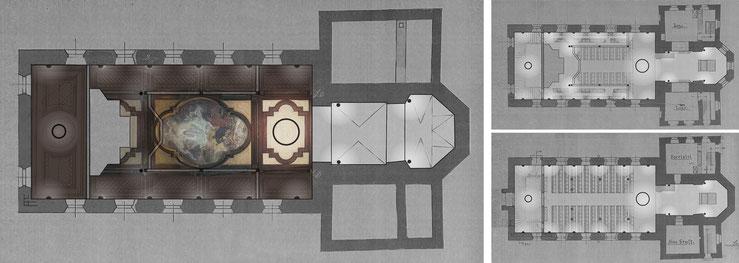 Grundrisse mit Lichtquellen / historische Decke, Empore, Kirchenschiff