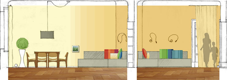 Wohnzimmer: Entwurfsskizzen / Schnitte / Farbcollagen